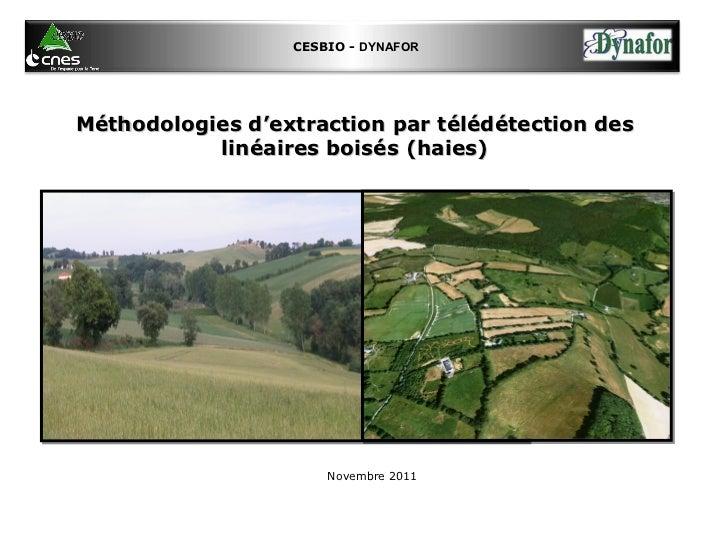 Atelier no1: Cartographie des haies  - Méthodologies d'extraction par télédétection des linéaires boisés (haies)