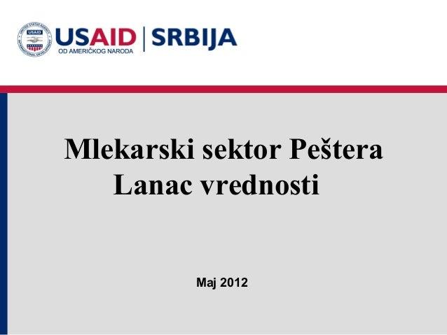Mlekarski sektor Peštera   Lanac vrednosti         Maj 2012