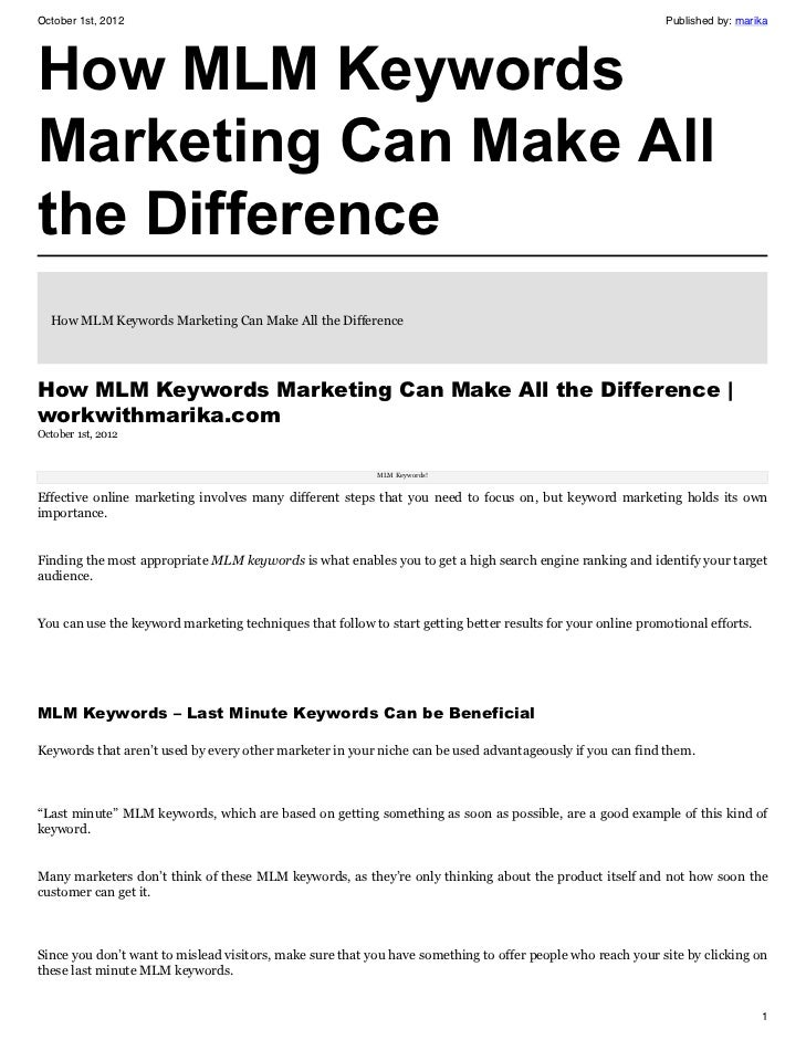 How MLM Keywords Marketing Can Make All the Difference
