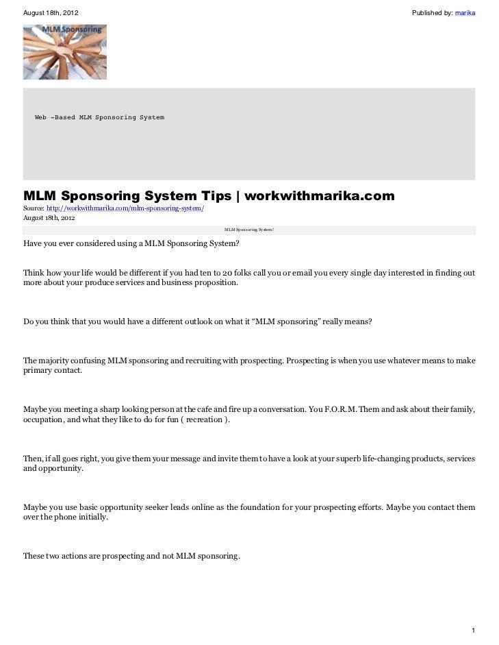 Mlm sponsoring system