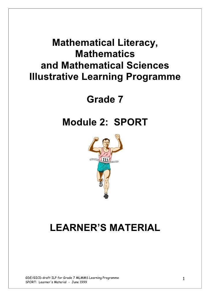 Mathematical Literacy,             Mathematics      and Mathematical Sciences  Illustrative Learning Programme            ...