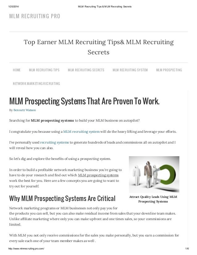 1/20/2014  MLM Recruiting Tips & MLM Recruiting Secrets  MLM RECRUITIN G PRO  Top Earner MLM Recruiting Tips& MLM Recruiti...