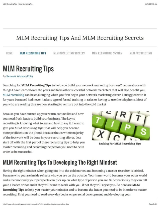 MLM Recruiting Tips To Sponsor More Reps.