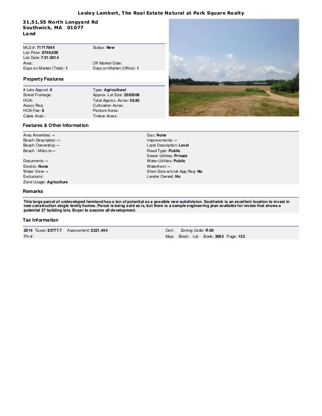 58.85 Acres of Prime Land for Development in Southwick, MA 01077