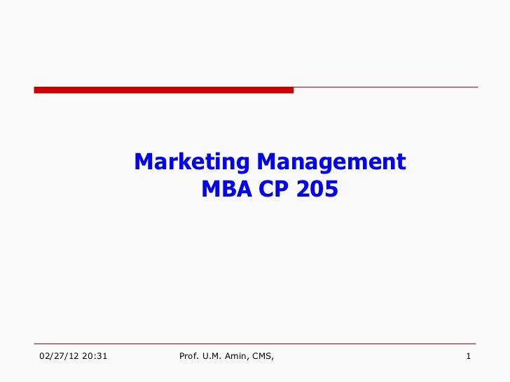 Marketing Management MBA CP 205
