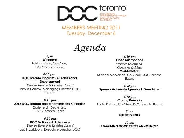 6pm Welcome Lalita Krishna, Co-Chair, DOC Toronto Board 6:05 pm DOC Toronto Programs & Professional Development Year in Re...