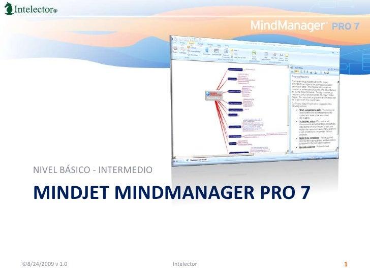 MindJetMindManager PRO 7<br />NIVEL BÁSICO - INTERMEDIO<br />©8/24/2009 v 1.0<br />1<br />Intelector<br />