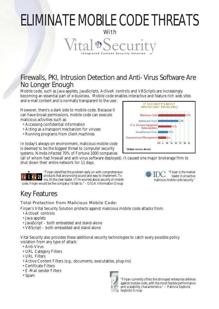 ELIMINATE MOBILE CODE THREATS                                                                 With     Firewalls, PKI, Int...