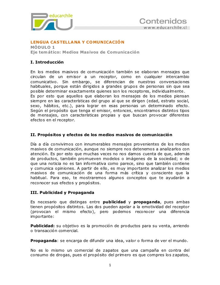 LENGUA CASTELLANA Y COMUNICACIÓNMÓDULO 1Eje temático: Medios Masivos de ComunicaciónI. IntroducciónEn los medios masivos d...