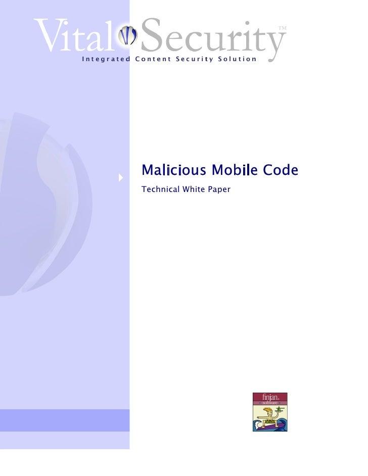 Malicious Mobile Code Technical White Paper