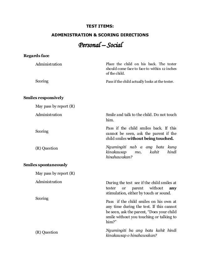 TEST ITEMS:               ADMINISTRATION & SCORING DIRECTIONS                              Personal – SocialRegards face  ...