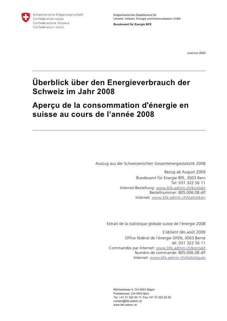 Aperçu de la consommation d'énergie en suisse au cours de l'année 2008