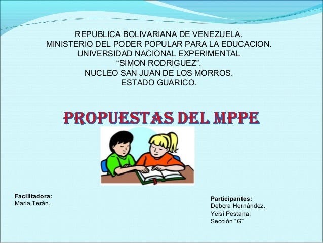 REPUBLICA BOLIVARIANA DE VENEZUELA.          MINISTERIO DEL PODER POPULAR PARA LA EDUCACION.                 UNIVERSIDAD N...