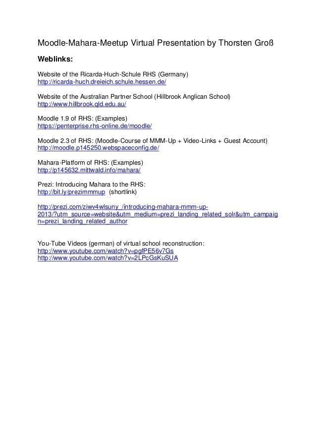 Moodle-Mahara-Meetup Virtual Presentation by Thorsten GroßWeblinks:Website of the Ricarda-Huch-Schule RHS (Germany)http://...