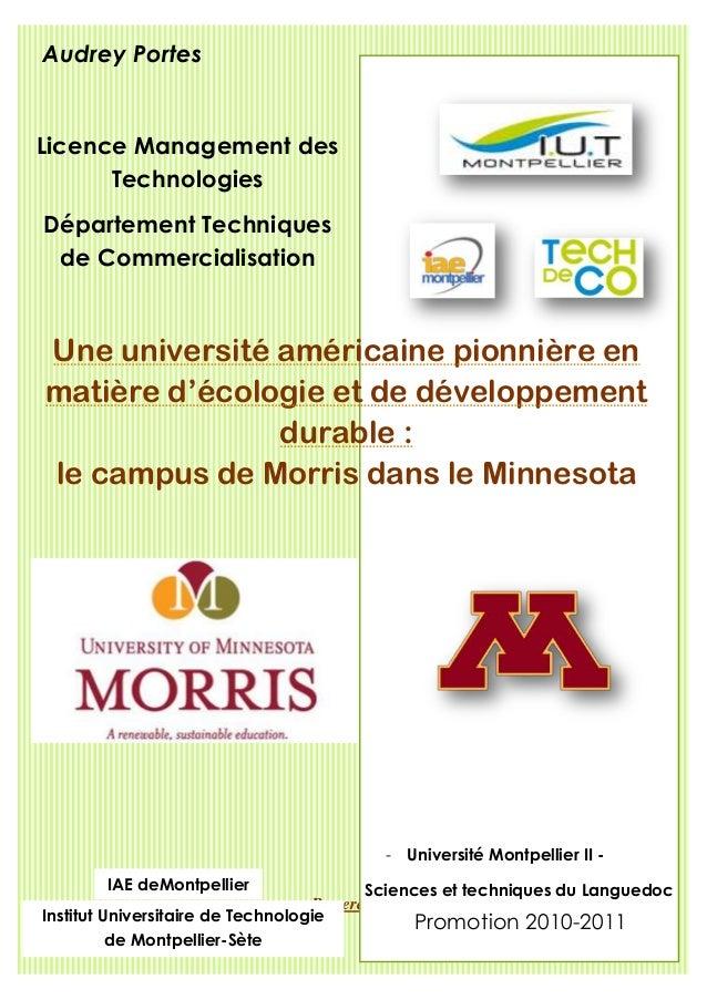 Audrey PortesLicence Management des      TechnologiesDépartement Techniques de CommercialisationUne université américaine ...
