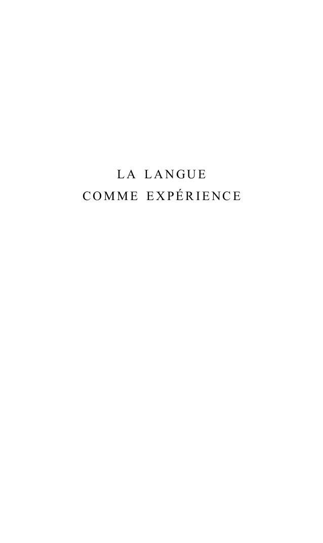la langue comme expérience