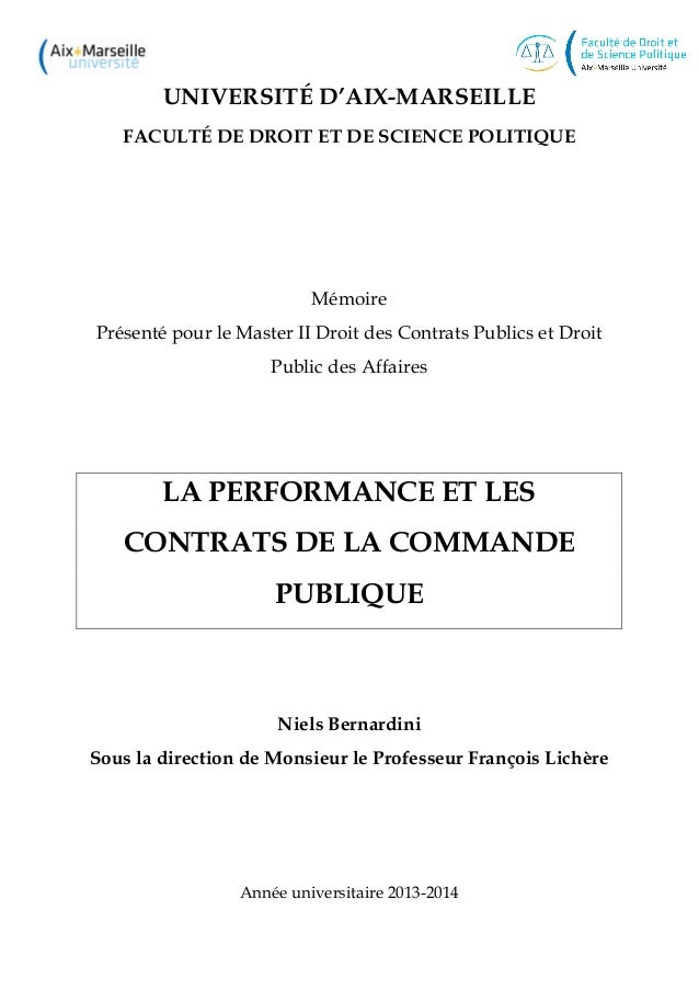 UNIVERSITÉ D'AIX-MARSEILLE FACULTÉ DE DROIT ET DE SCIENCE POLITIQUE Mémoire Présenté pour le Master II Droit des Contrats ...