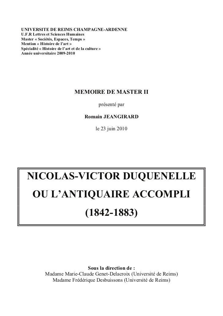 UNIVERSITE DE REIMS CHAMPAGNE-ARDENNEU.F.R Lettres et Sciences HumainesMaster « Sociétés, Espaces, Temps »Mention « Histoi...