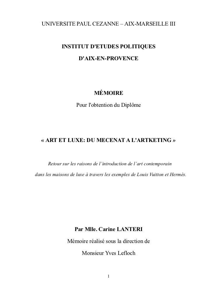 Mémoire de fin d'études, Art et Luxe: du mécénat à l'artketing