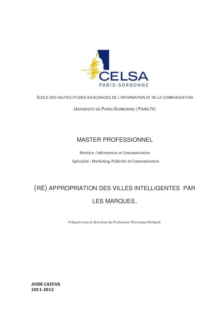 ÉCOLE DES HAUTES ÉTUDES EN SCIENCES DE L'INFORMATION ET DE LA COMMUNICATION                    UNIVERSITÉ DE PARIS-SORBONN...