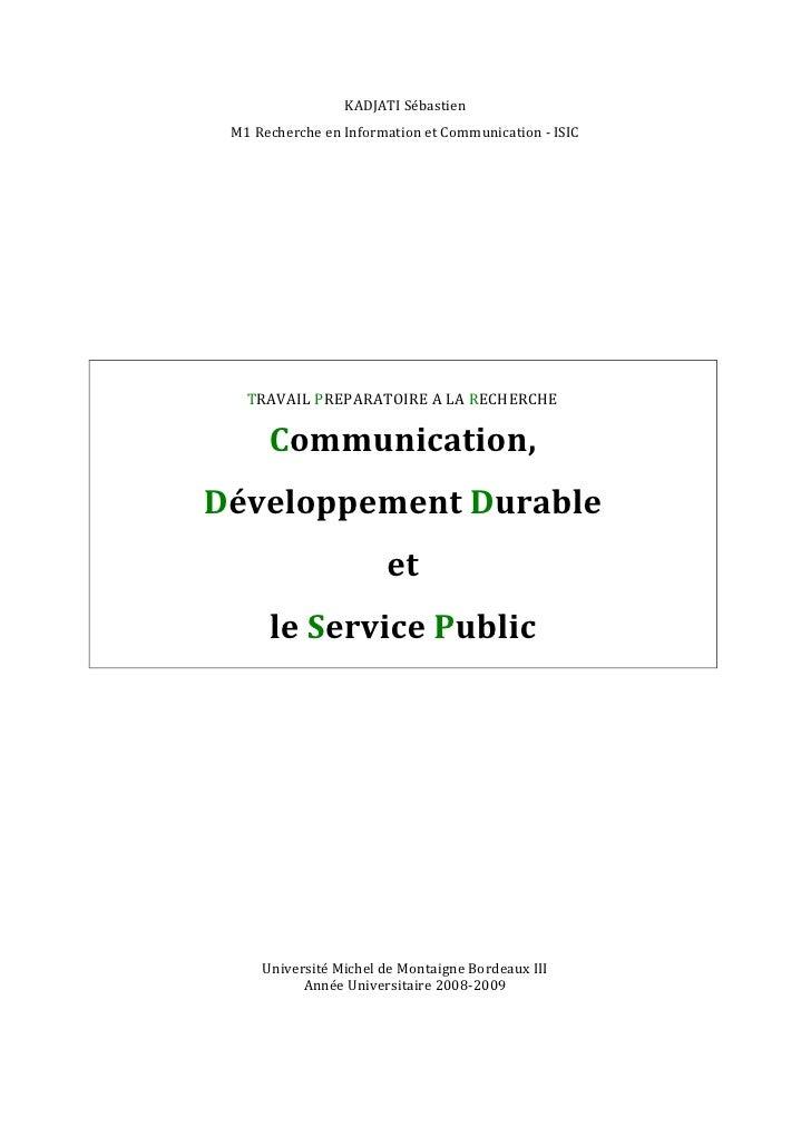 KADJATI Sébastien  M1 Recherche en Information et Communication - ISIC        TRAVAIL PREPARATOIRE A LA RECHERCHE        C...