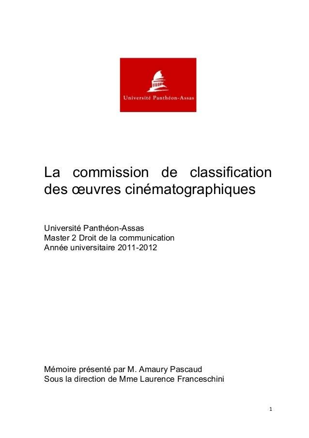 La commission de classification desœuvrescinématographiques Université Panthéon-Assas M...