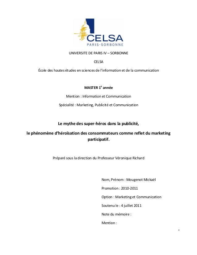 UNIVERSITE DE PARIS IV – SORBONNE                                       CELSA     École des hautes études en sciences de l...