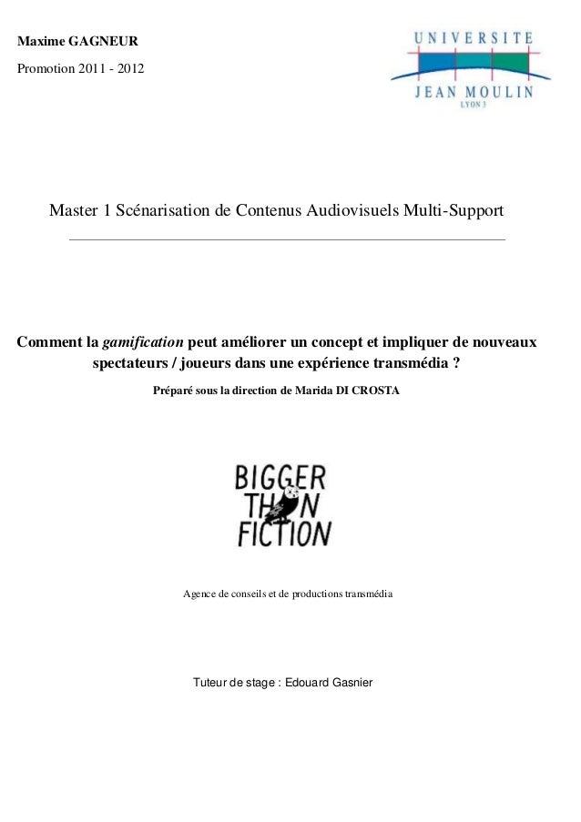 Master 1 Scénarisation de Contenus Audiovisuels Multi-Support  Agence de conseils et de productions transmédia  Tuteur de ...