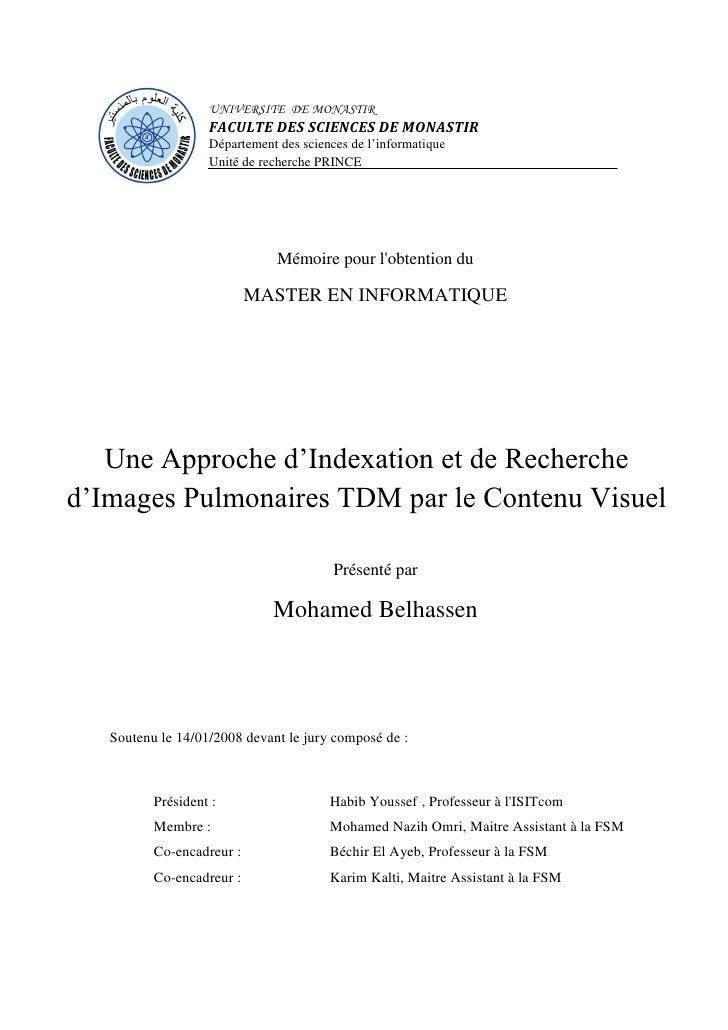 Une Approche d'Indexation et de Recherche d'Images Pulmonaires TDM par le Contenu Visuel