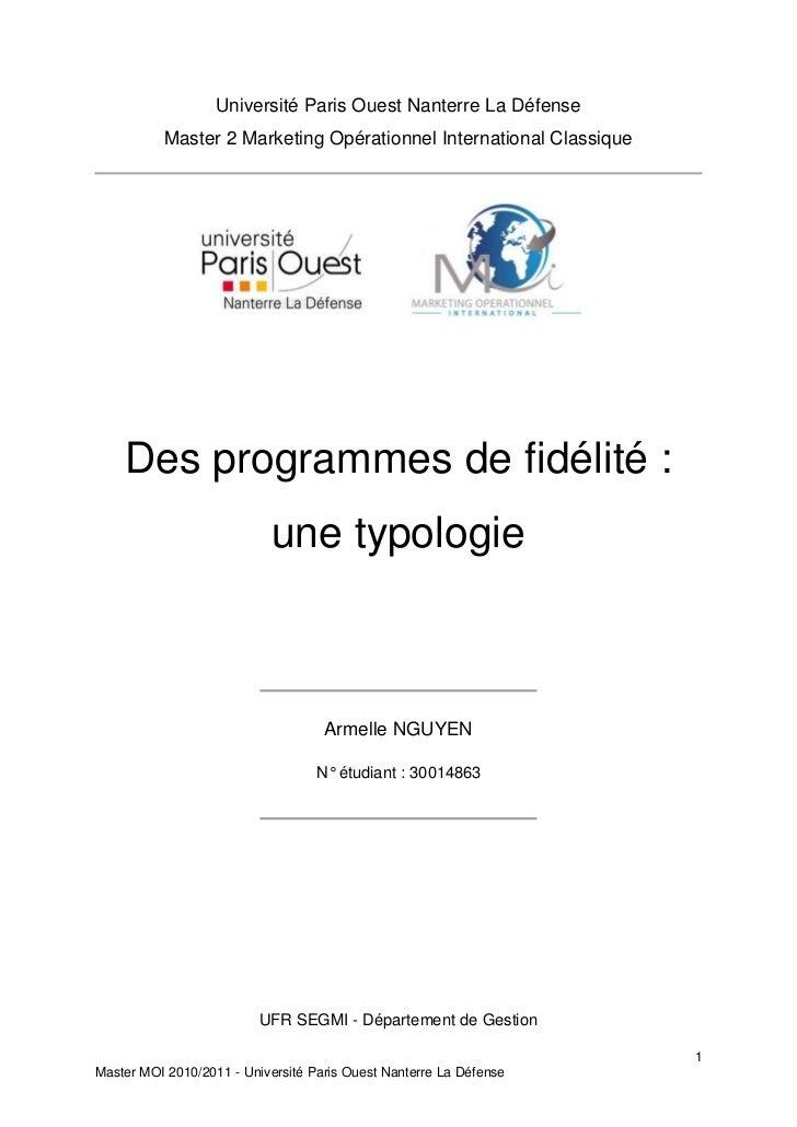 Université Paris Ouest Nanterre La Défense          Master 2 Marketing Opérationnel International Classique    Des program...