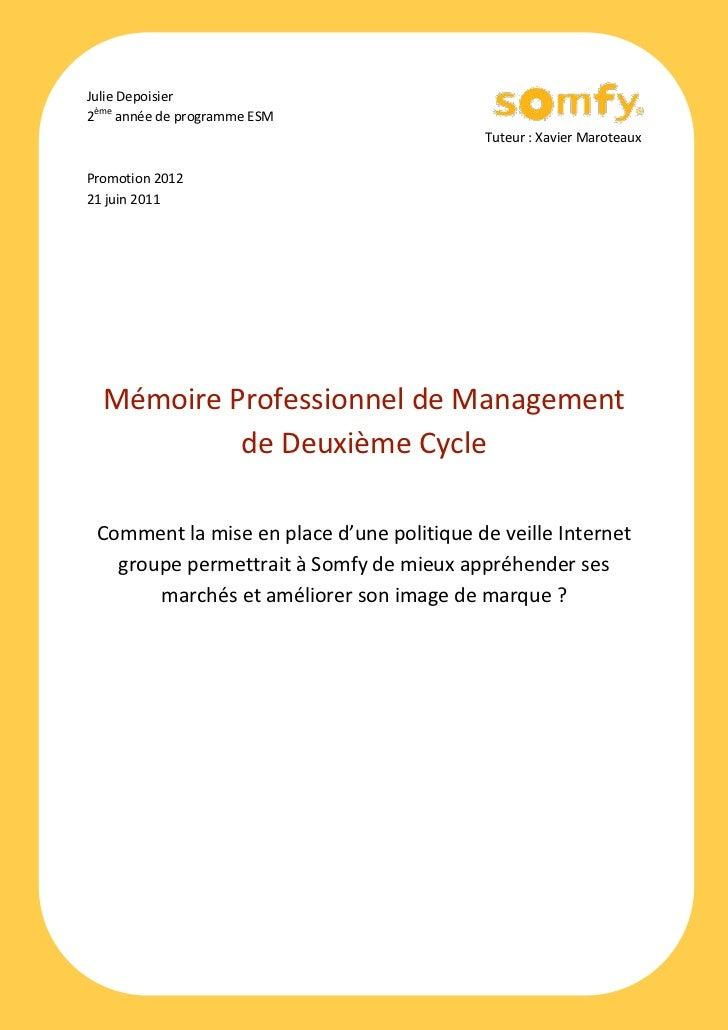 Julie Depoisier2ème année de programme ESM                                           Tuteur : Xavier MaroteauxPromotion 20...