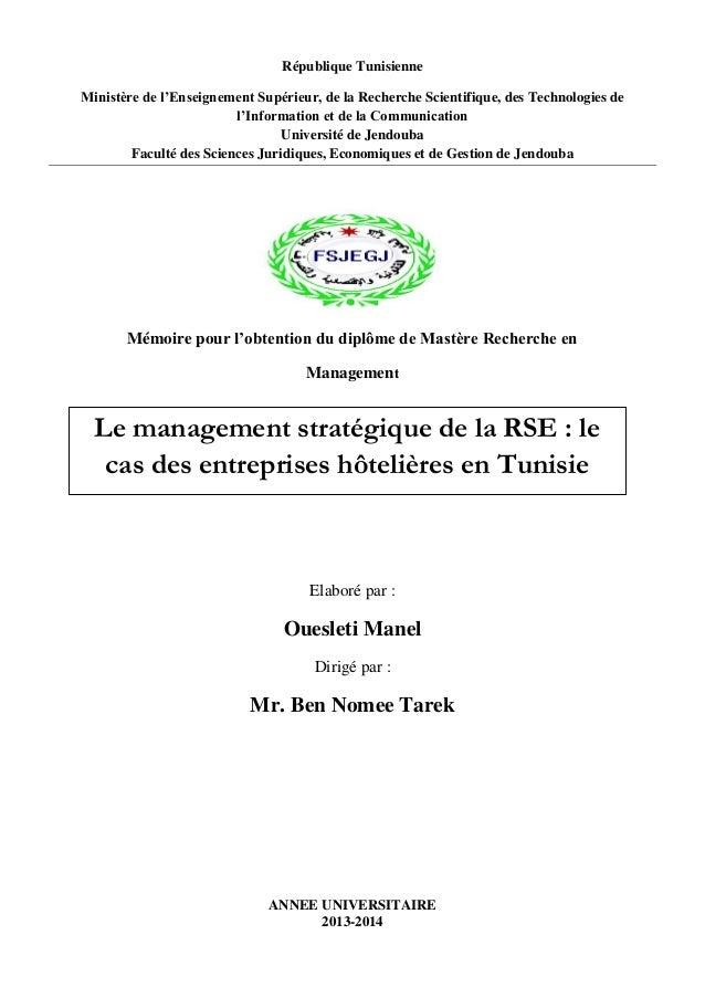 République Tunisienne Ministère de l'Enseignement Supérieur, de la Recherche Scientifique, des Technologies de l'Informati...
