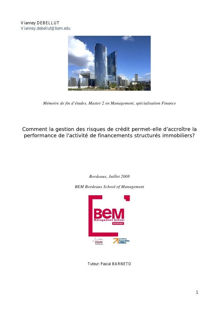 Mémoire Vianney Debellut Financements Structurés Immobiliers