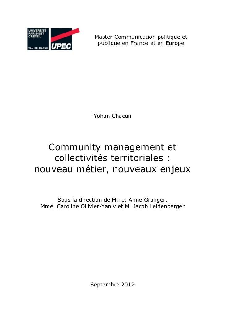 Master Communication politique et                     publique en France et en Europe                    Yohan Chacun   Co...