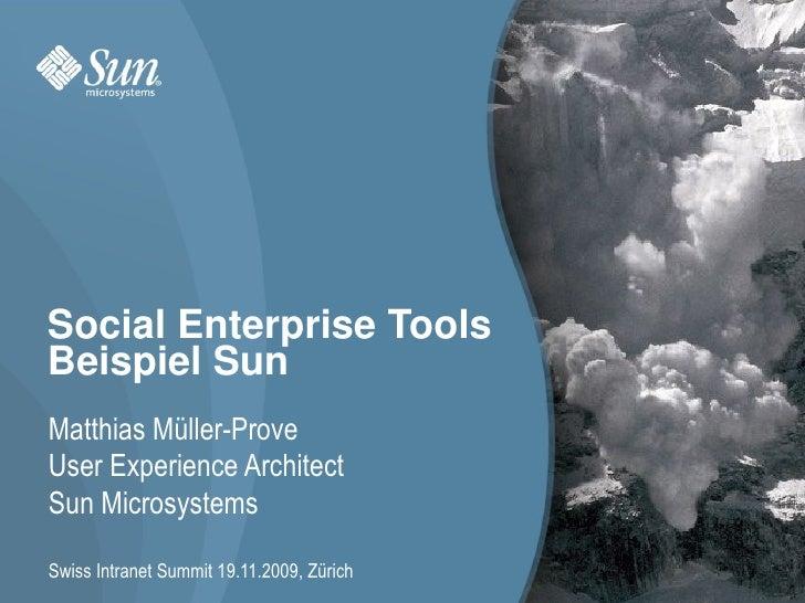 Social Enterprise Tools. Beispiel Sun