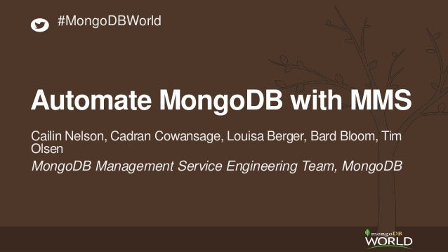 MongoDB Management Service Engineering Team, MongoDB Cailin Nelson, Cadran Cowansage, Louisa Berger, Bard Bloom, Tim Olsen...