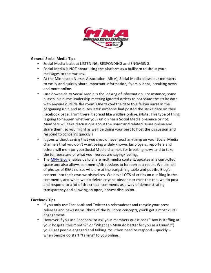 Social Media Tip Sheet for Labor Unions & Associations
