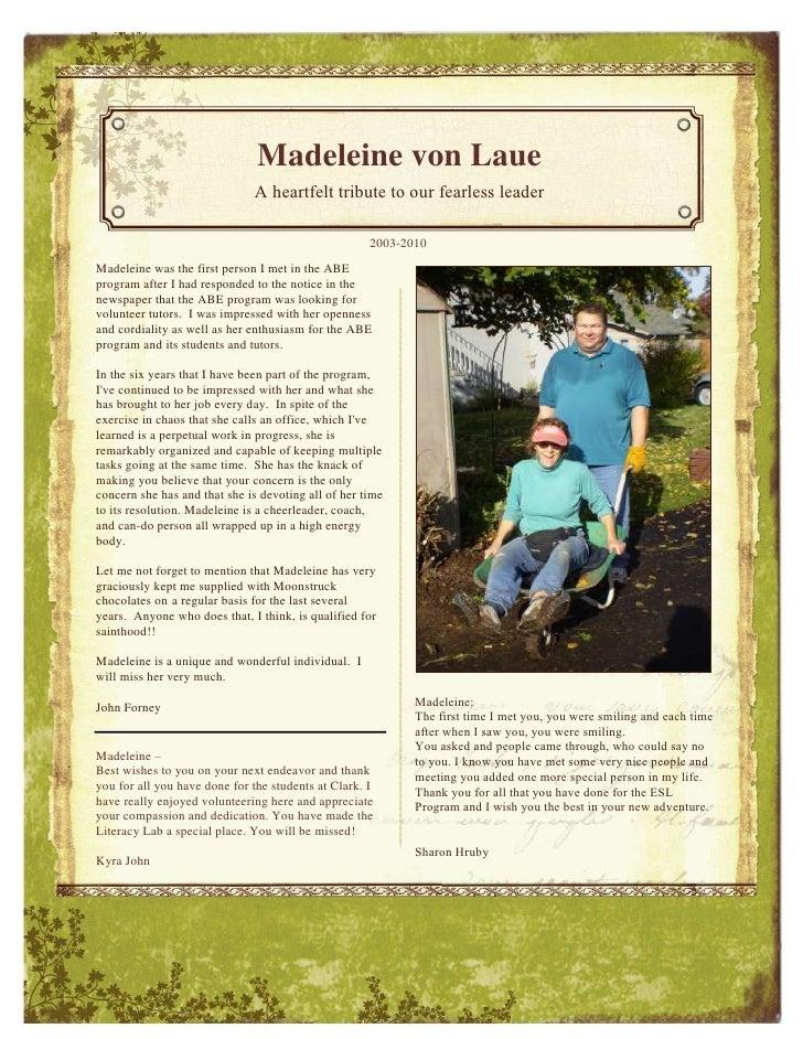 -1151094-832513<br />Madeleine von LaueA heartfelt tribute to our fearless leaderMadeleine was the first person I met in t...