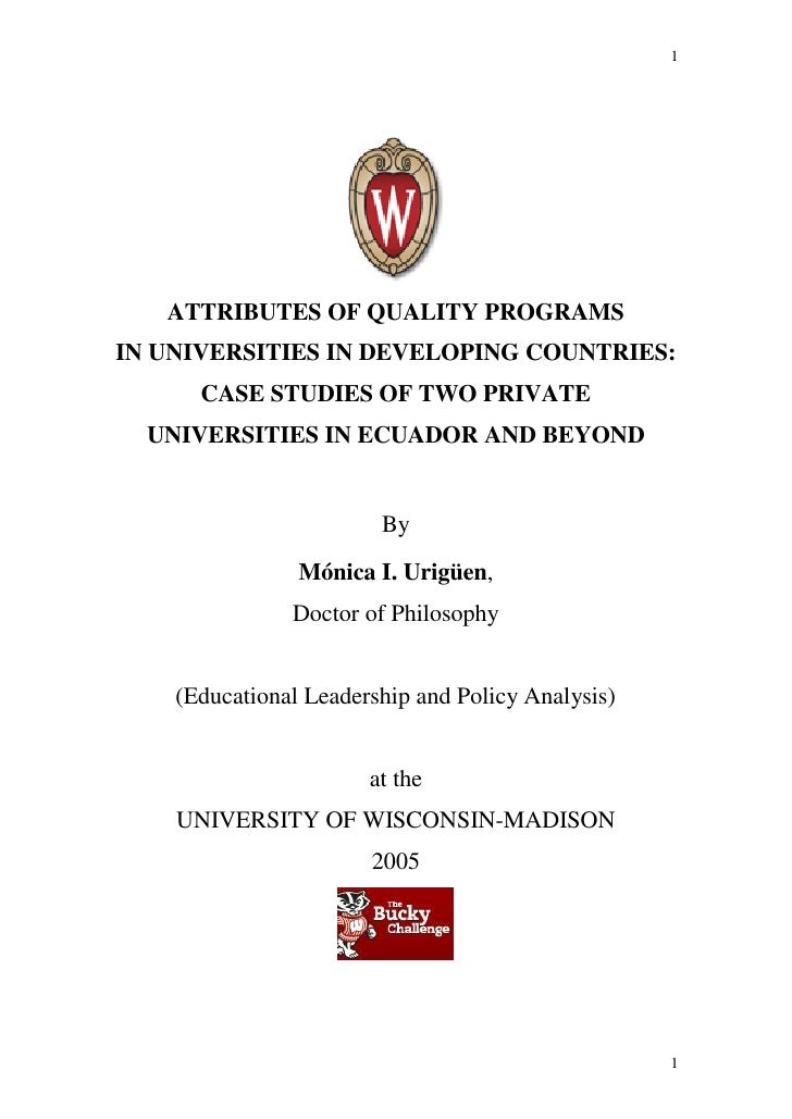 1   ATTRIBUTES OF QUALITY PROGRAMSIN UNIVERSITIES IN DEVELOPING COUNTRIES:      CASE STUDIES OF TWO PRIVATE  UNIVERSITIES ...