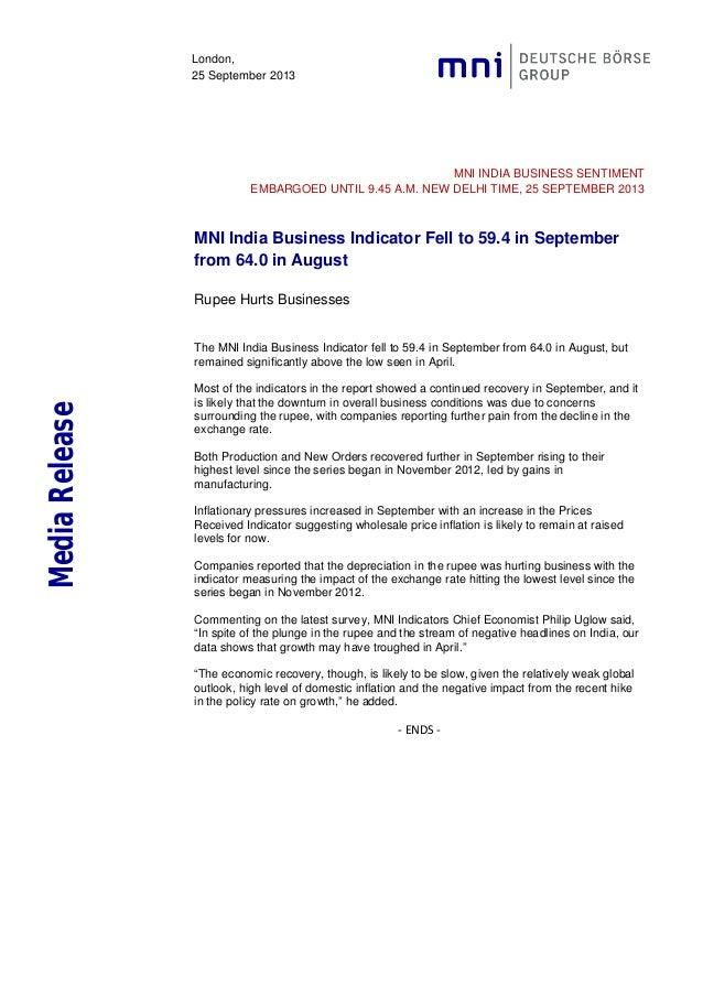 MNI India Business Sentiment Indicator September 2013