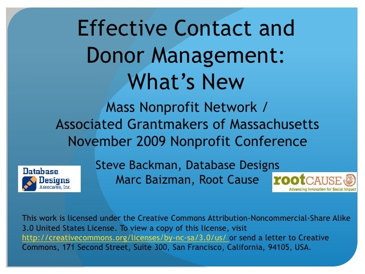 Effective Contact and Donor Management:What's New<br />Mass Nonprofit Network / Associated Grantmakers of MassachusettsNov...