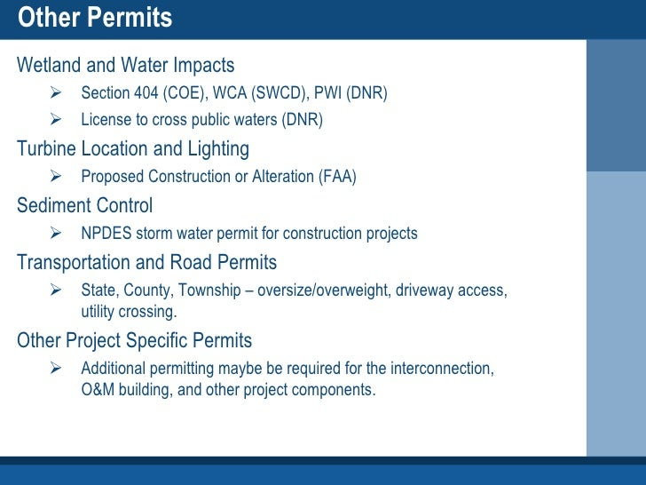 Permitting Process Wetlands Other Permits Wetland And