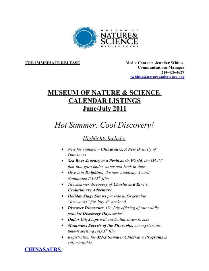 MNS Calendar Listings June/July 2011
