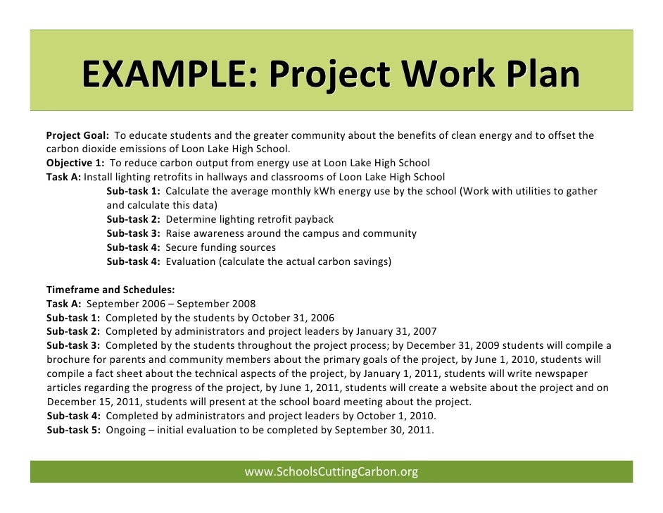 Work Plan Examples Example Project Work Plan