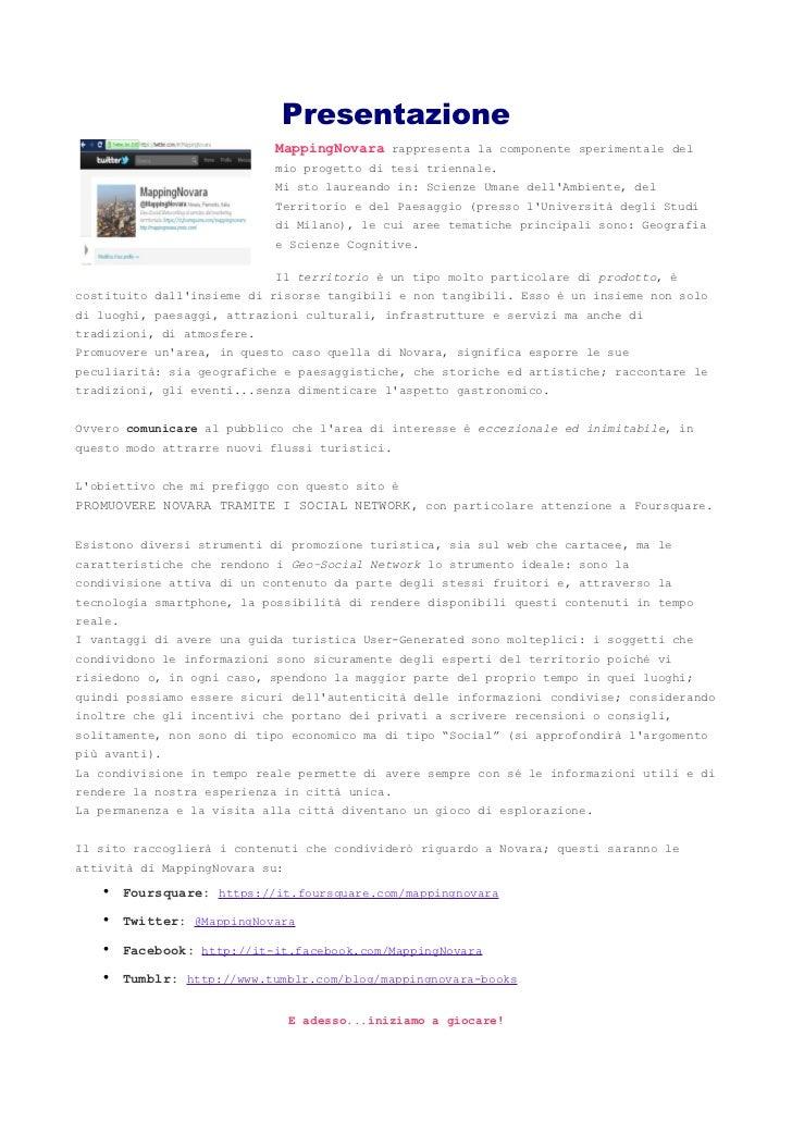 Presentazione                            MappingNovara rappresenta la componente sperimentale del                         ...