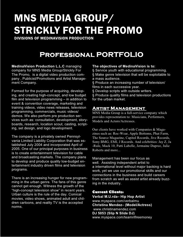 MNS MEDIA GROUP/  STRICKLY FOR THE PROMO  DIVISIONS OF MEDINAVISION PRODUCTION                      Professional PORTFOLIO...