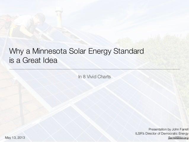 Why a Minnesota Solar Energy Standardis a Great IdeaIn 8 Vivid ChartsPresentation by John FarrellILSR's Director of Democr...