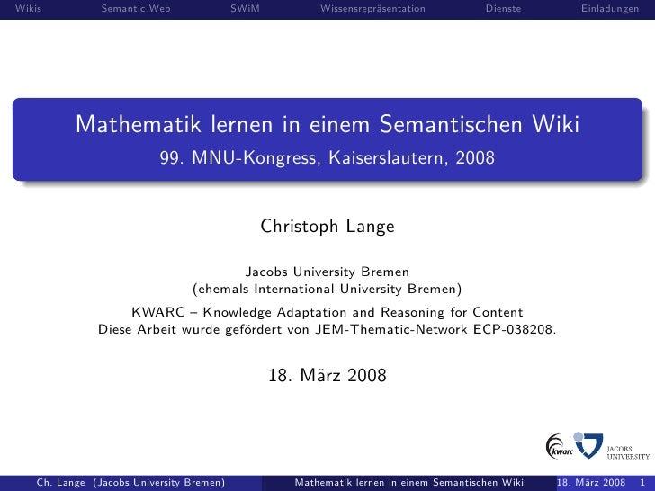 Wikis           Semantic Web               SWiM         Wissensrepräsentation           Dienste        Einladungen        ...