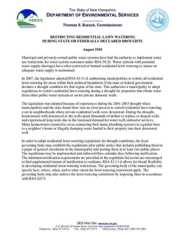 Model Regulation for Restricting Lawn Irrigation