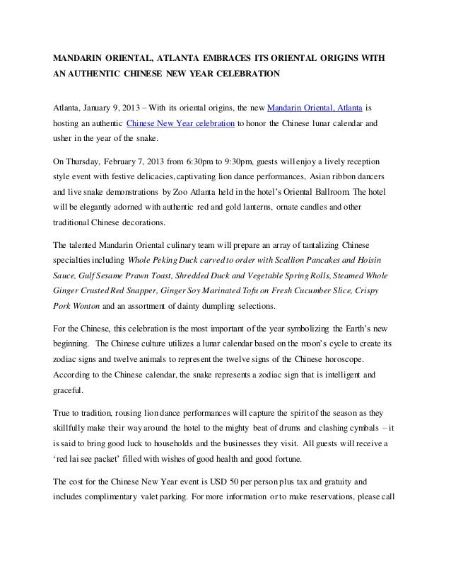 MANDARIN ORIENTAL, ATLANTA EMBRACES ITS ORIENTAL ORIGINS WITHAN AUTHENTIC CHINESE NEW YEAR CELEBRATIONAtlanta, January 9, ...